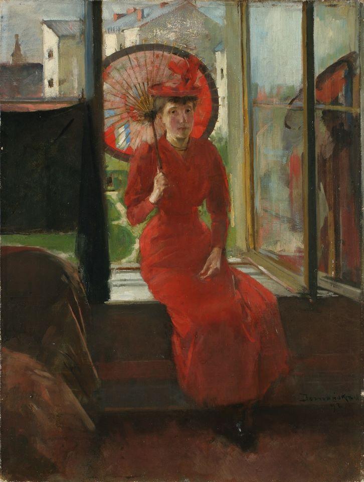 """Olga Boznańska (1865 - 1940) """"Kobieta z japońską parasolką"""", 1892 rok, źródło: Muzeum Narodowe we Wrocławiu"""