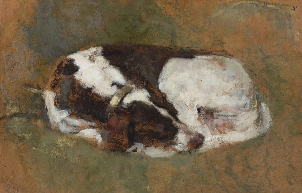 """Olga Boznańska (1865 - 1940) """"Śpiący pies"""", przed 1902 rokiem, źródło: Muzeum Narodowe w Warszawie"""