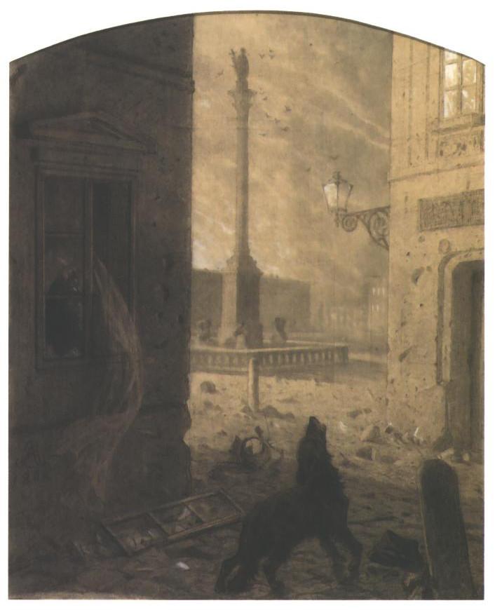 """Artur Grottger (1837-1867), rysunek z cyklu """"Warszawa II"""", 1862 rok, źródło: Victoria and Albert Museum w Londynie"""
