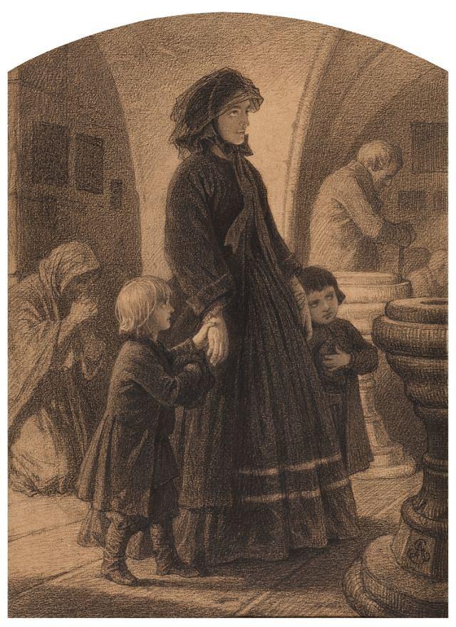 """Artur Grottger (1837-1867), rysunek z cyklu """"Warszawa I"""", 1861 rok, źródło: Muzeum Narodowe we Wrocławiu"""