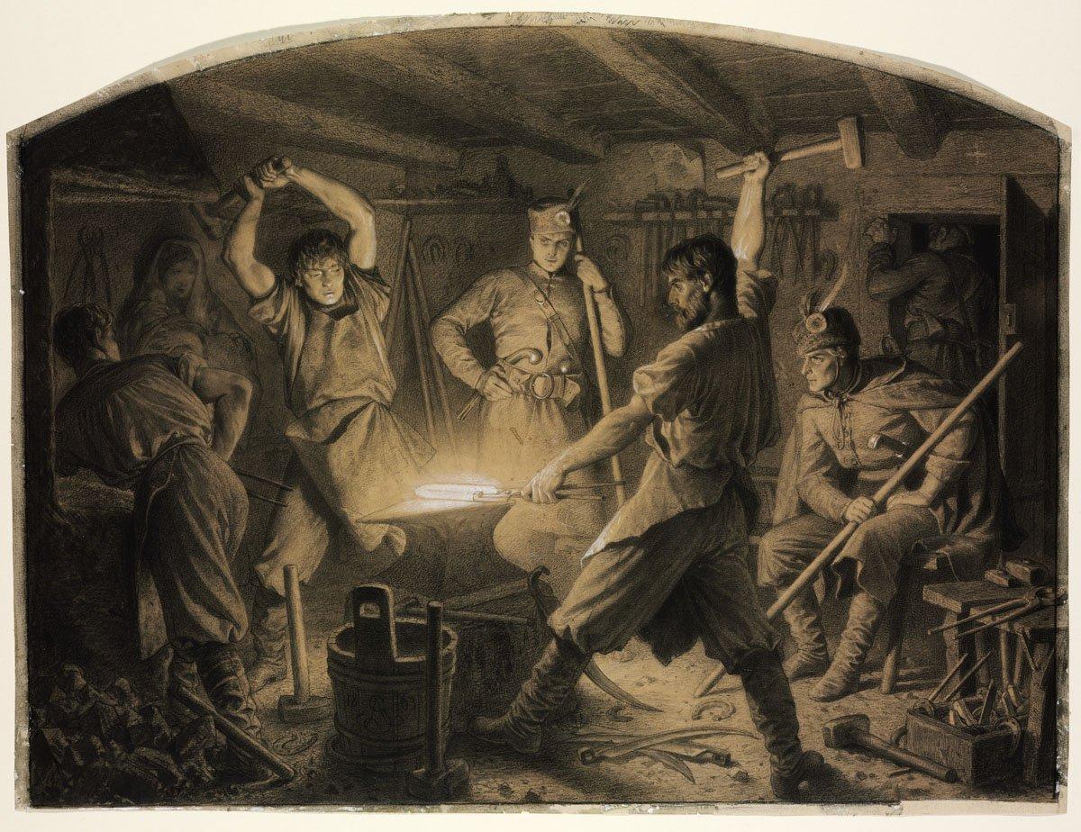 """Artur Grottger (1837-1867) """"Kucie kos"""" z cyklu """"Polonia"""", 1863 rok, źródło: Muzeum Sztuk Pięknych w Budapeszcie"""
