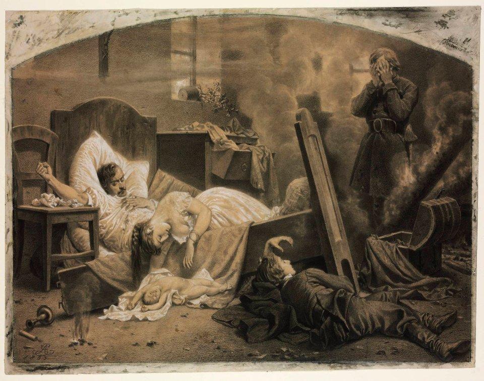 """Artur Grottger (1837-1867) """"Po odejściu wroga"""" z cyklu """"Polonia"""", 1863 rok, źródło: Muzeum Sztuk Pięknych w Budapeszcie"""