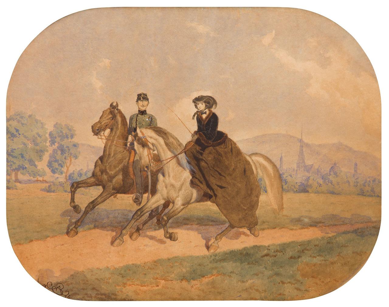 "Artur Grottger (1837-1867) ""Przejażdżka"", 1856 rok, źródło: Desa Unicum"
