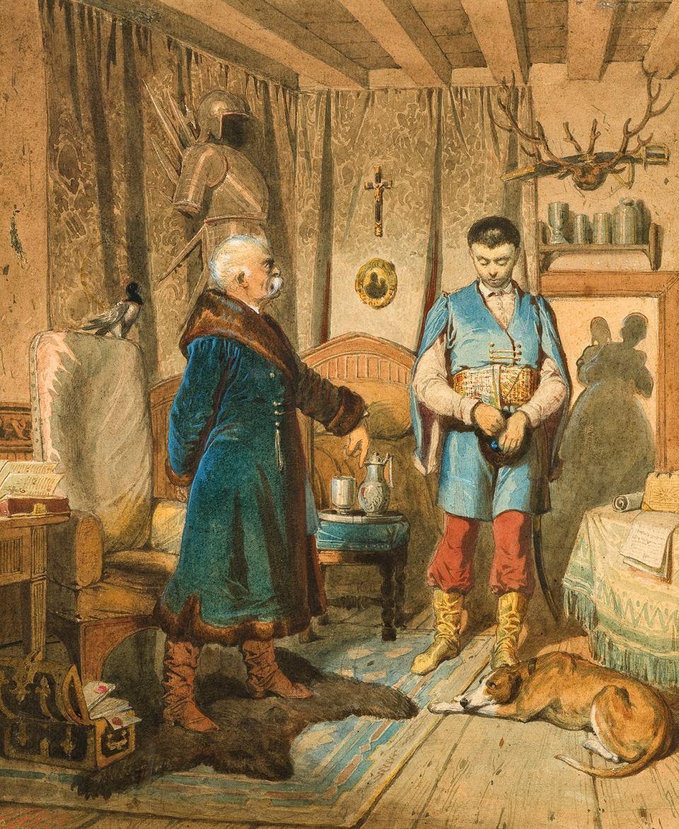 """Artur Grottger (1837-1867) """"Szkoła szlachcica: Admonicya"""", 1858 rok, źródło: Muzeum Narodowe we Wrocławiu"""