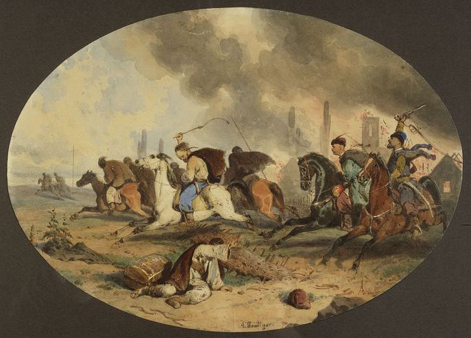 """Artur Grottger (1837-1867) """"Tatarzy w uciecze"""", 1855 rok, źródło: Muzeum Narodowe w Warszawie"""