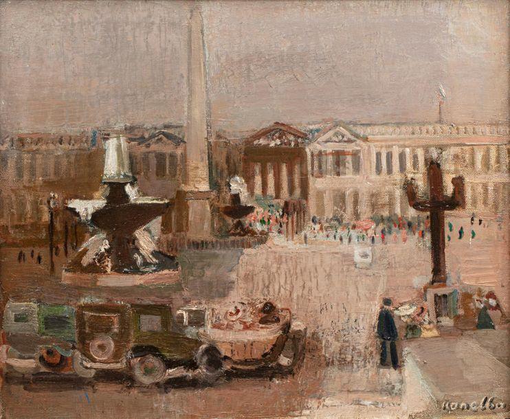 """Rajmund Kanelba (1897-1960) """"Paryż - Place de la Concorde"""" , źródło: Millon et Associés"""