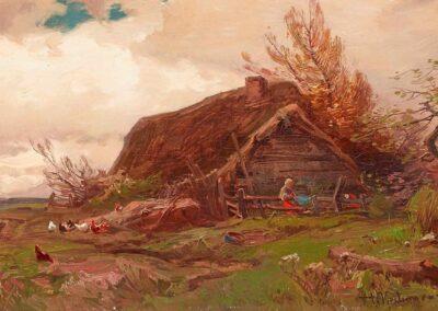 """Roman Kochanowski (1856-1945) """"Pejzaż z chatą"""", źródło: Kaupp"""