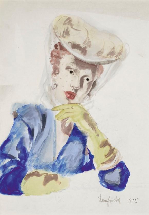 """Tamara Łempicka (1898-1980) """"Dama w kapeluszu z woalką"""", źródło: Christie's"""