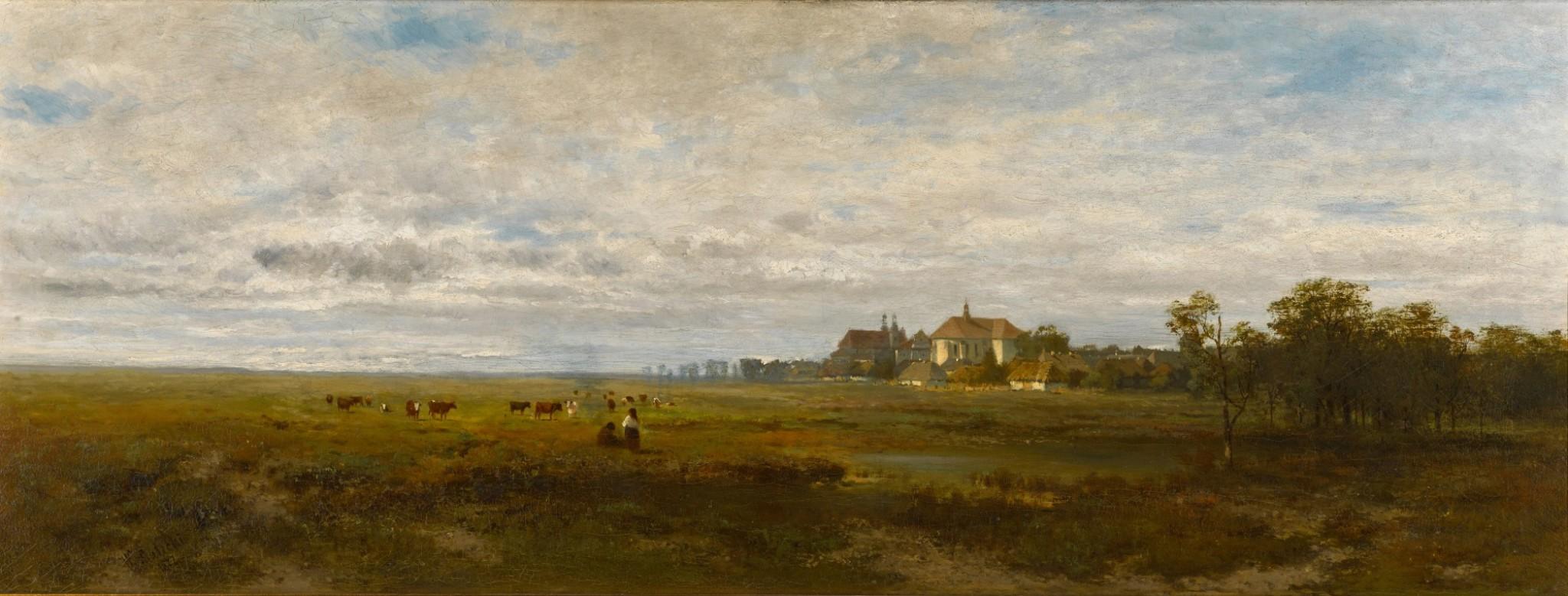 """Władysław Aleksander Malecki (1836-1900) """"Przedmieścia Krakowa"""", źródło: Sotheby's"""