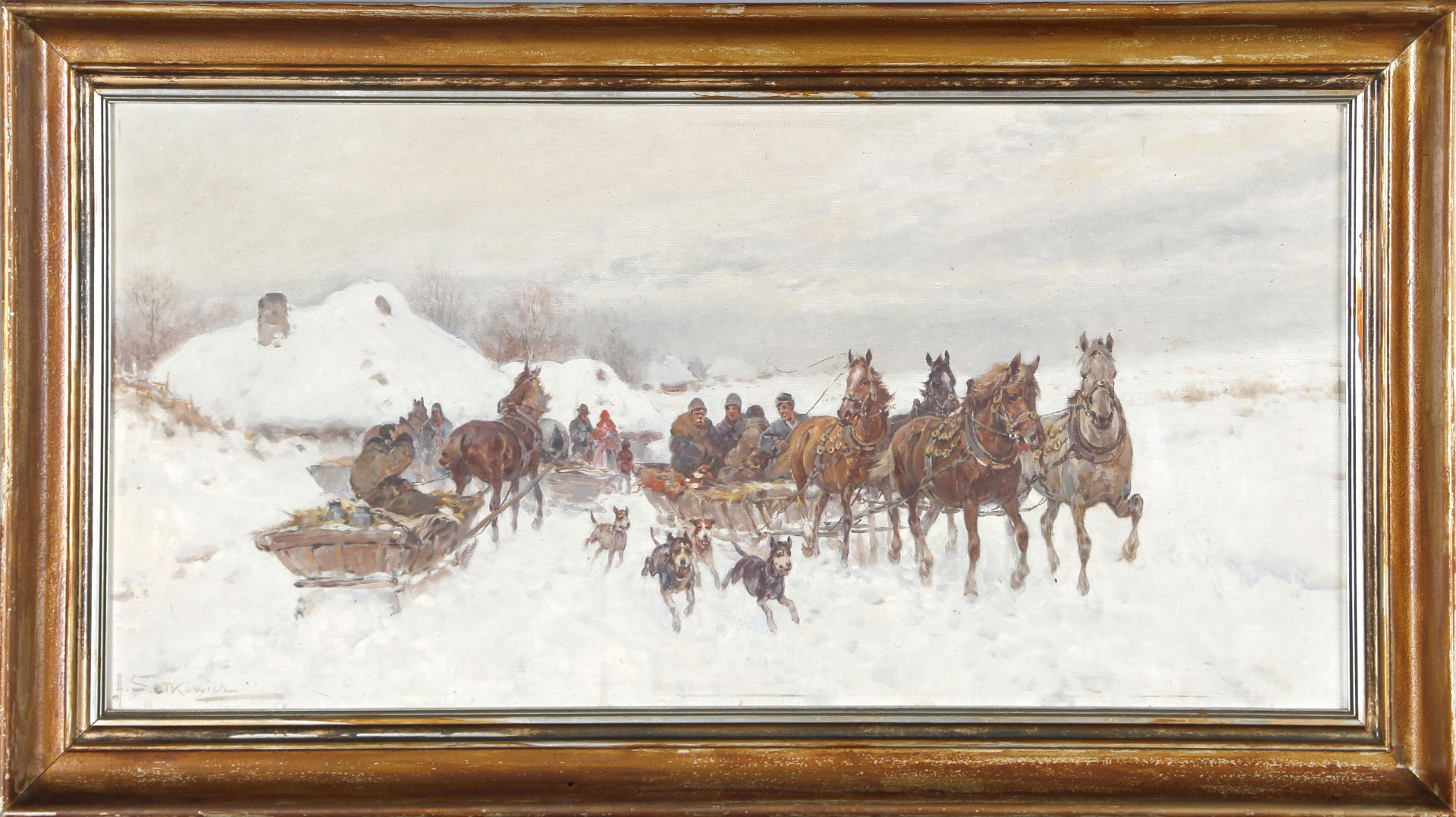 """Adam Setkowicz (1875-1945) """"Wyjazd ze wsi"""", źródło: Dawo Auktionen"""