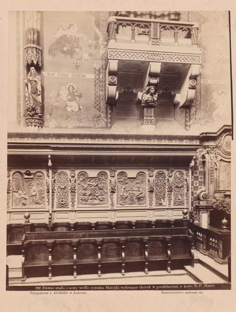 Rzeźbiarskie popiersie kobiety poniżej chóru w prezbiterium kościoła Mariackiego, 1892 rok, źródło: Muzeum Krakowa