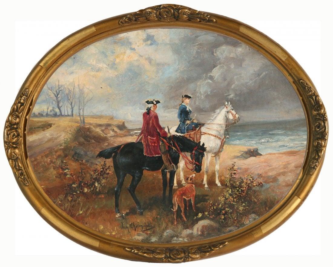 """Jan Chełmiński (1851-1925) """"Na polowaniu"""", źródło: Trinity International Auctions"""