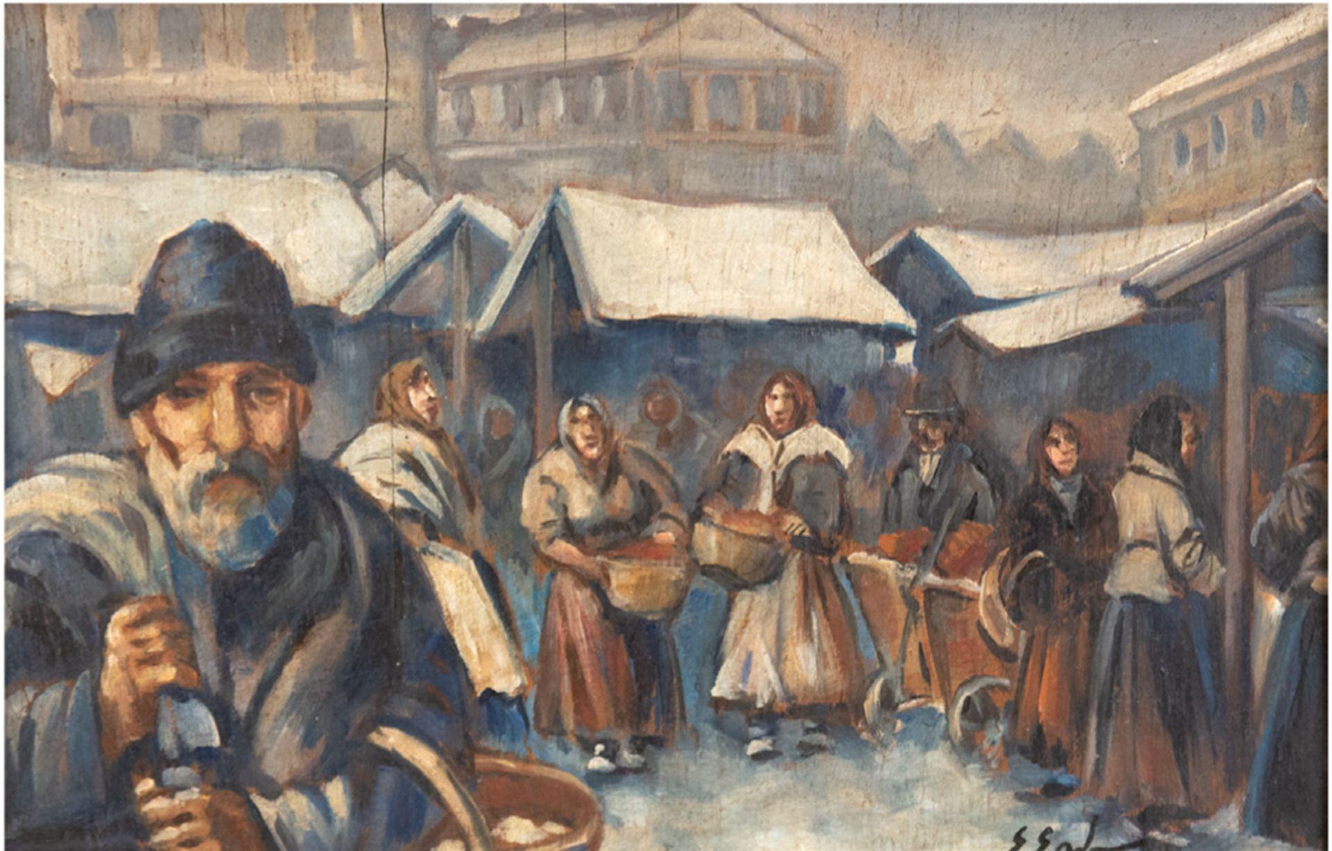 "Erno Erb (1878-1943) ""Scena targowa"", źródło: Auktionshaus Satow"