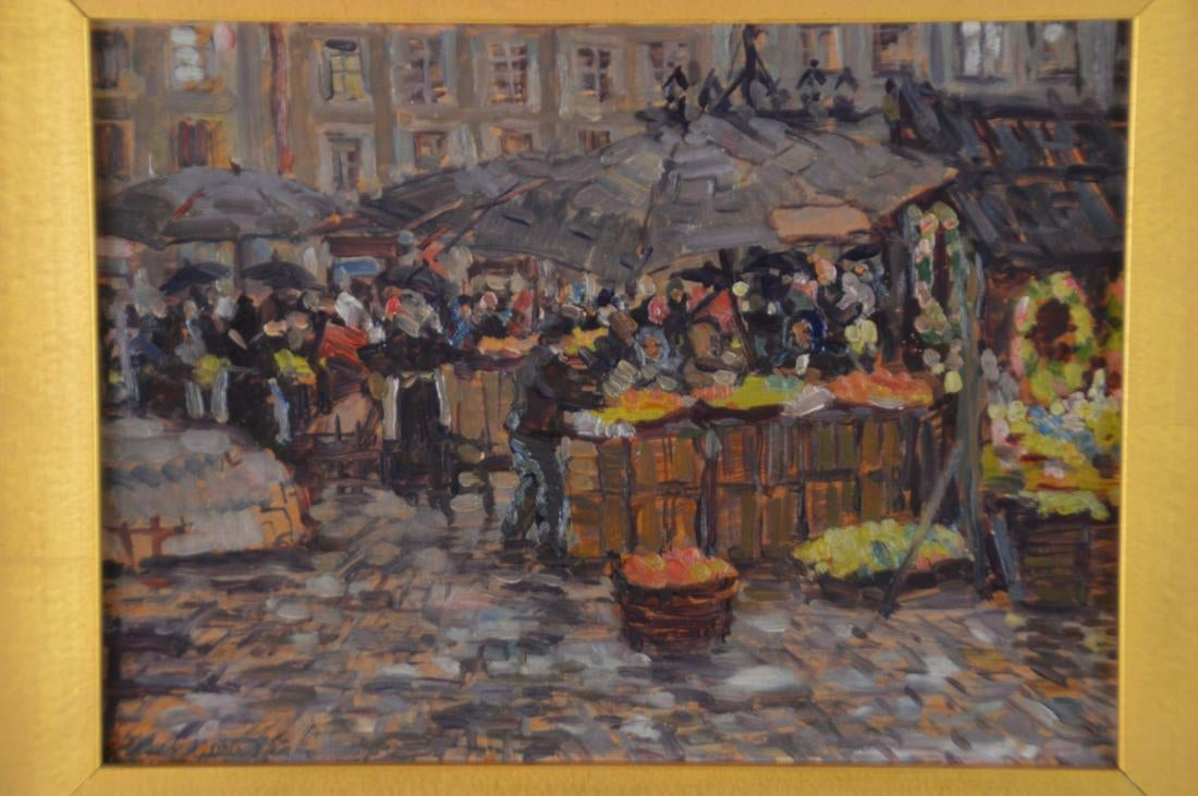 "Józef Gardecki (1880-1952) ""Scena targowa"", źródło: Bill Hood & Sons Art & Antique Auctions"
