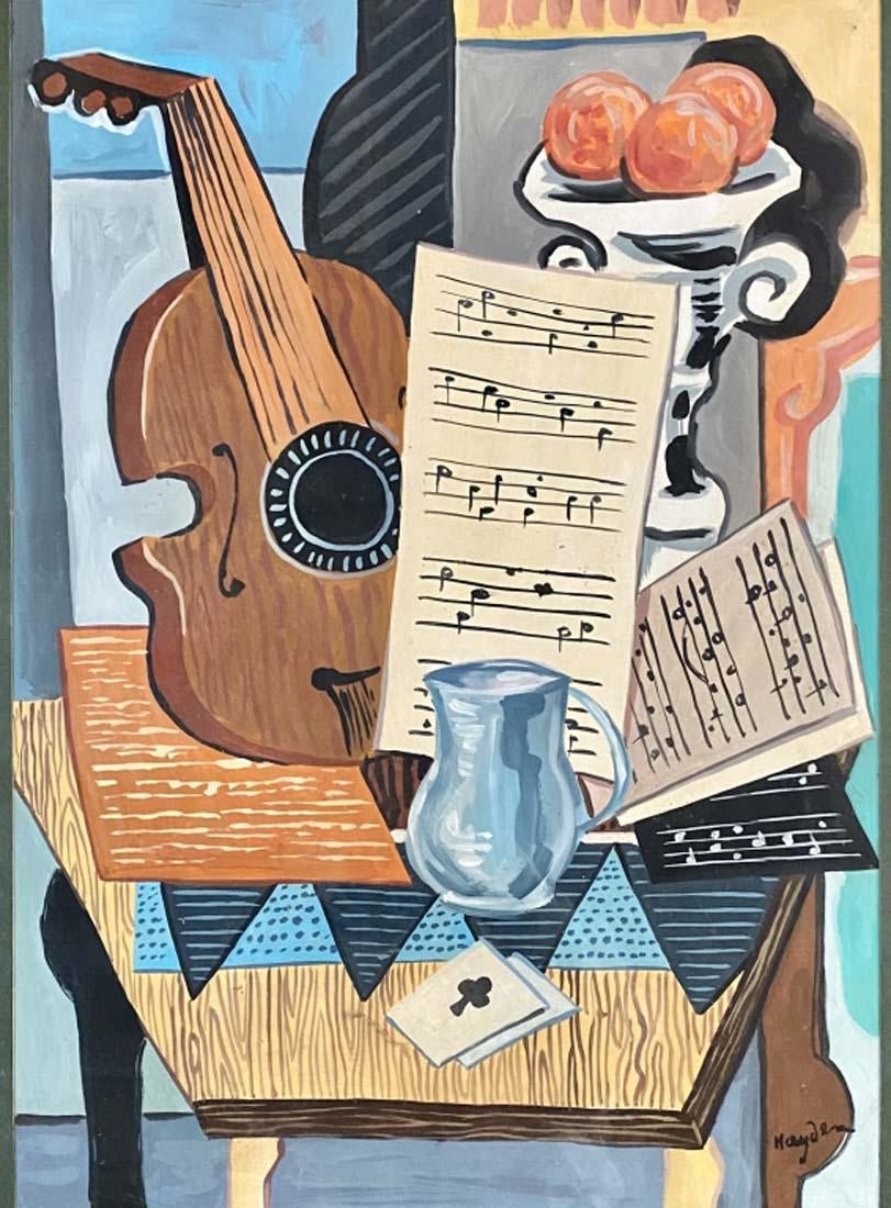 "Henryk Hayden (1883-1970) ""Kubistyczna martwa natura z mandoliną"", źródło: Auction Kings Gallery"