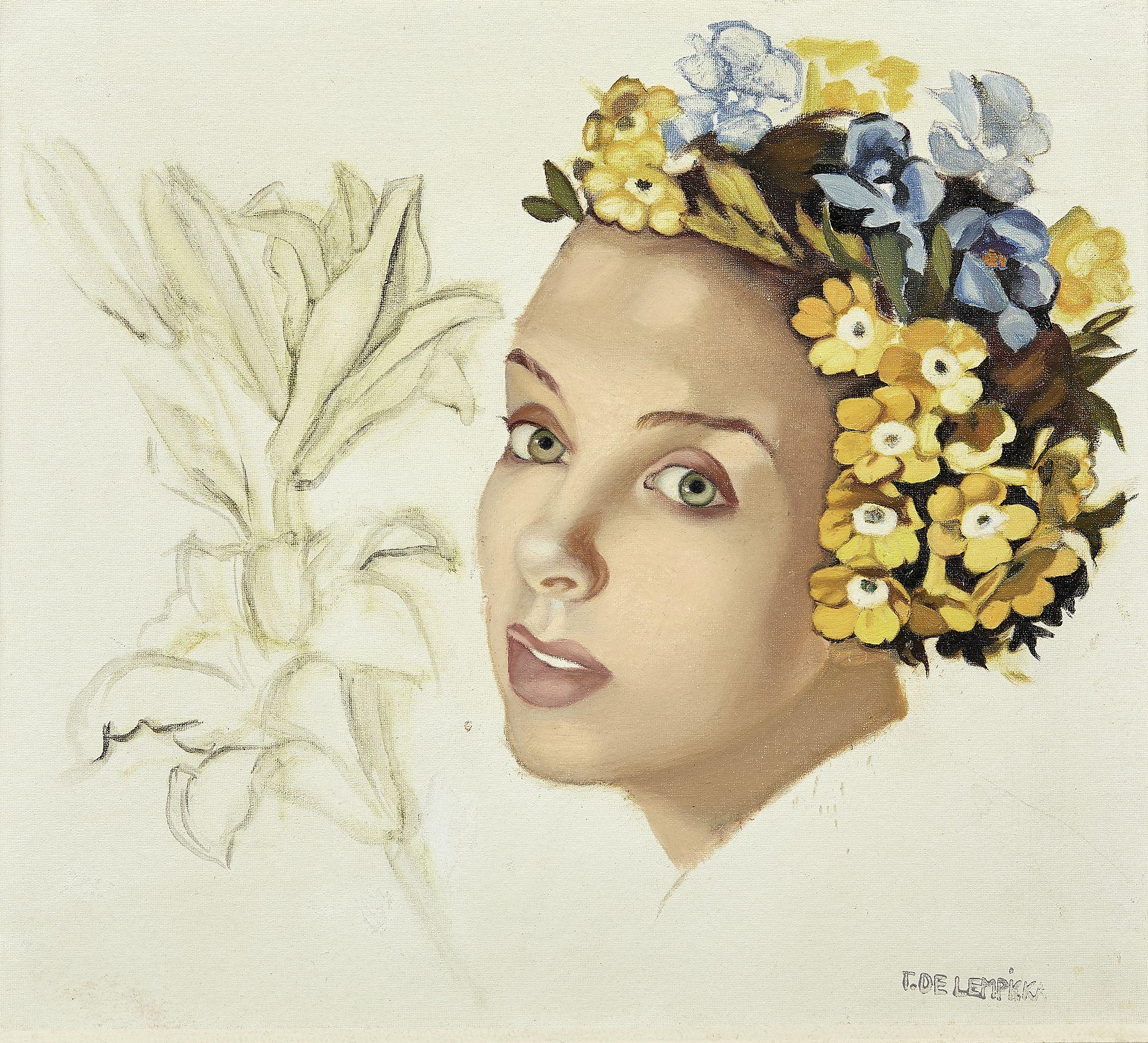 """Tamara Łempicka (1898-1980) """"Dziewczyna w kwiatowym wieńcu"""", źródło: Artcurial"""