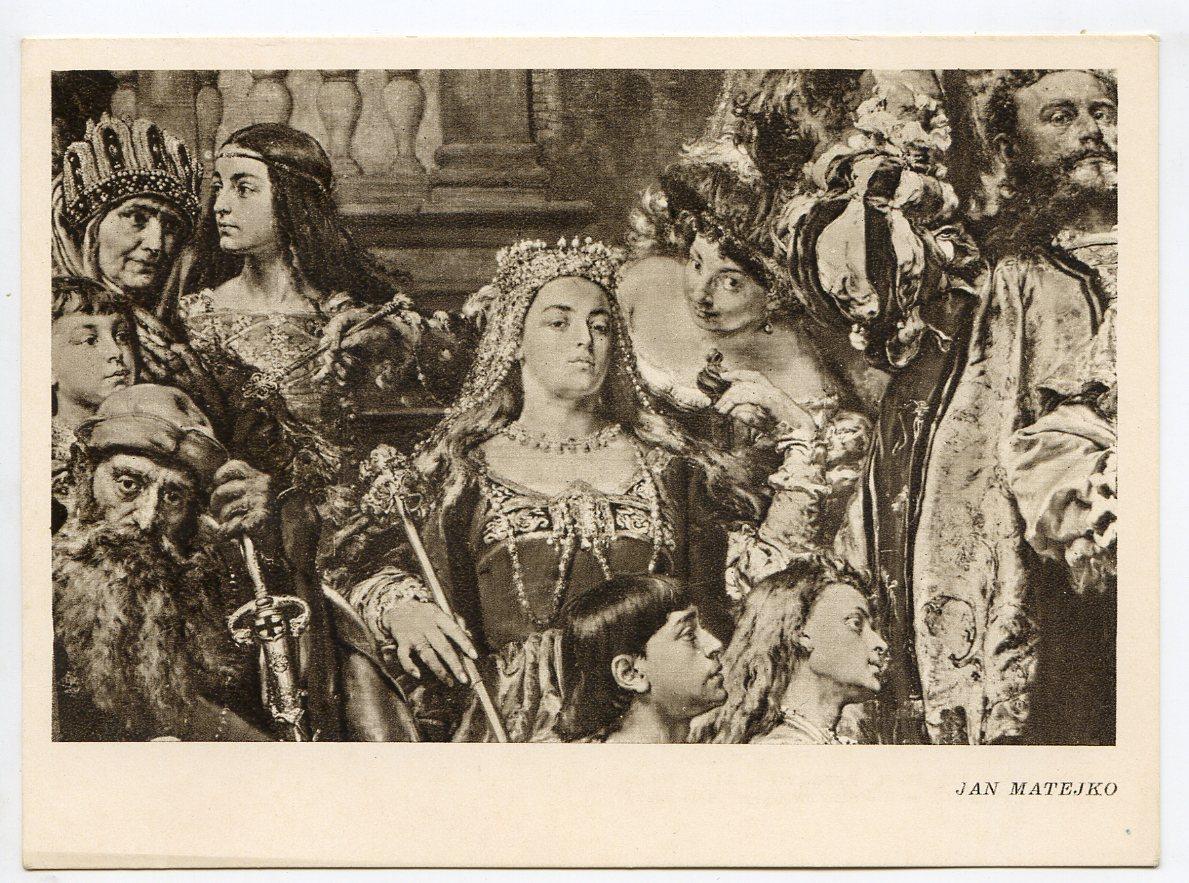 """Pocztówka z fragmentem """"Hołdu pruskiego"""" Jana Matejki z wizerunkiem królowej Bony, źródło: myvimu.com (Museum Tomatorum)"""