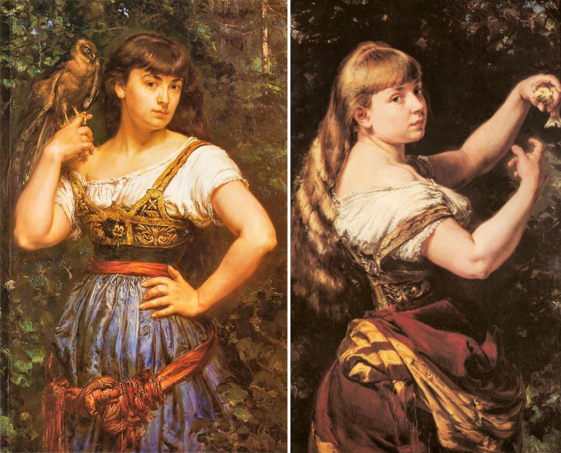 Portrety córek Jana Matejki - Heleny z krogulcem i Beaty z kanarkiem, źródło: TUiR Warta S.A. / Muzeum Narodowe w Warszawie