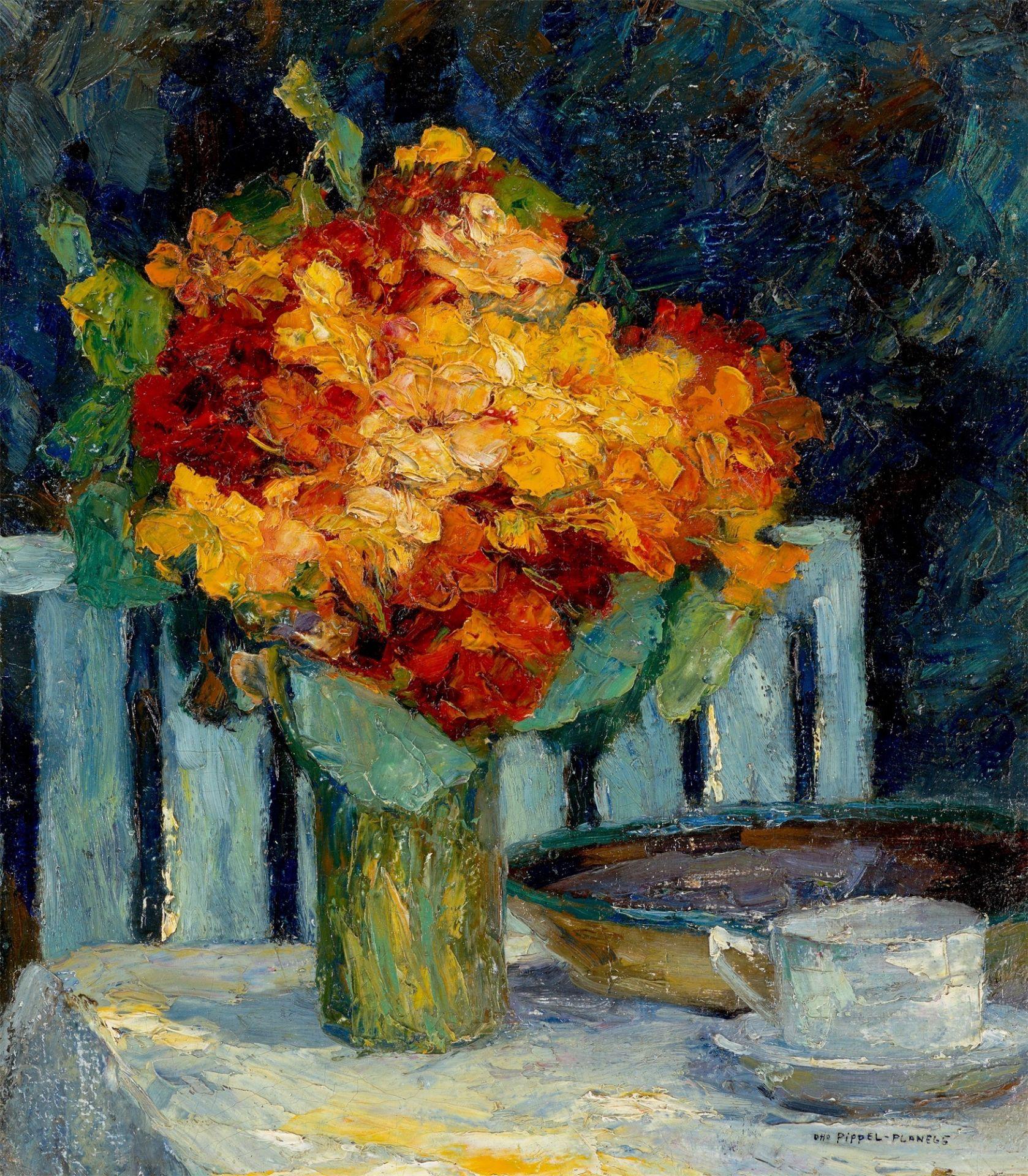"""Otto Eduard Pippel (1878-1960) """"Martwa natura z bukietem kwiatów"""", źródło: Grisebach"""