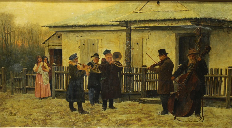 """Franciszek Streitt (1839-1890) """"Wędrowni muzykanci"""", źródło: Bamfords Auctioneers & Valuers"""