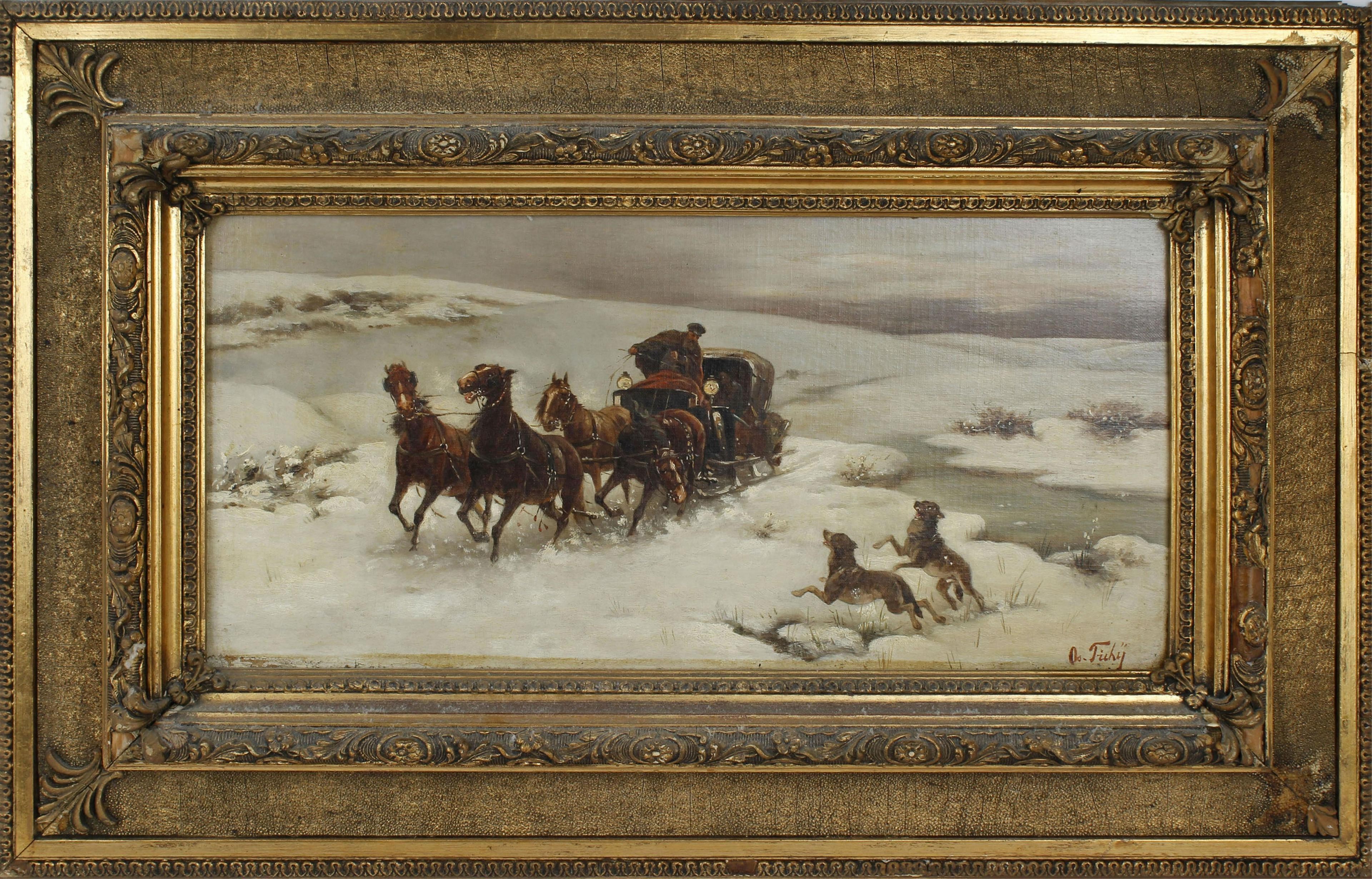 """Os. Tichy (XIX / XX wiek) """"Napad wilków"""", źródło: Manor Auctions"""