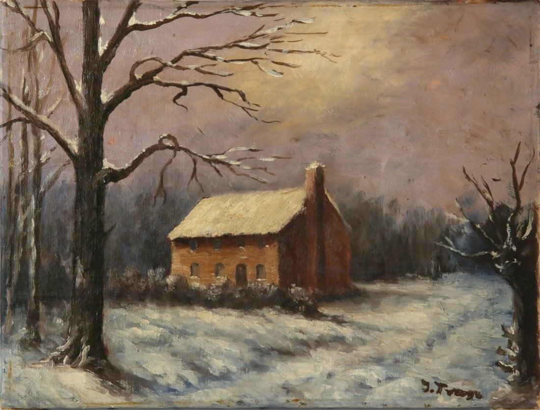 """Iwan Trusz (1869-1941) """"Pejzaż zimowy"""", źródło: Trinity International Auctions"""