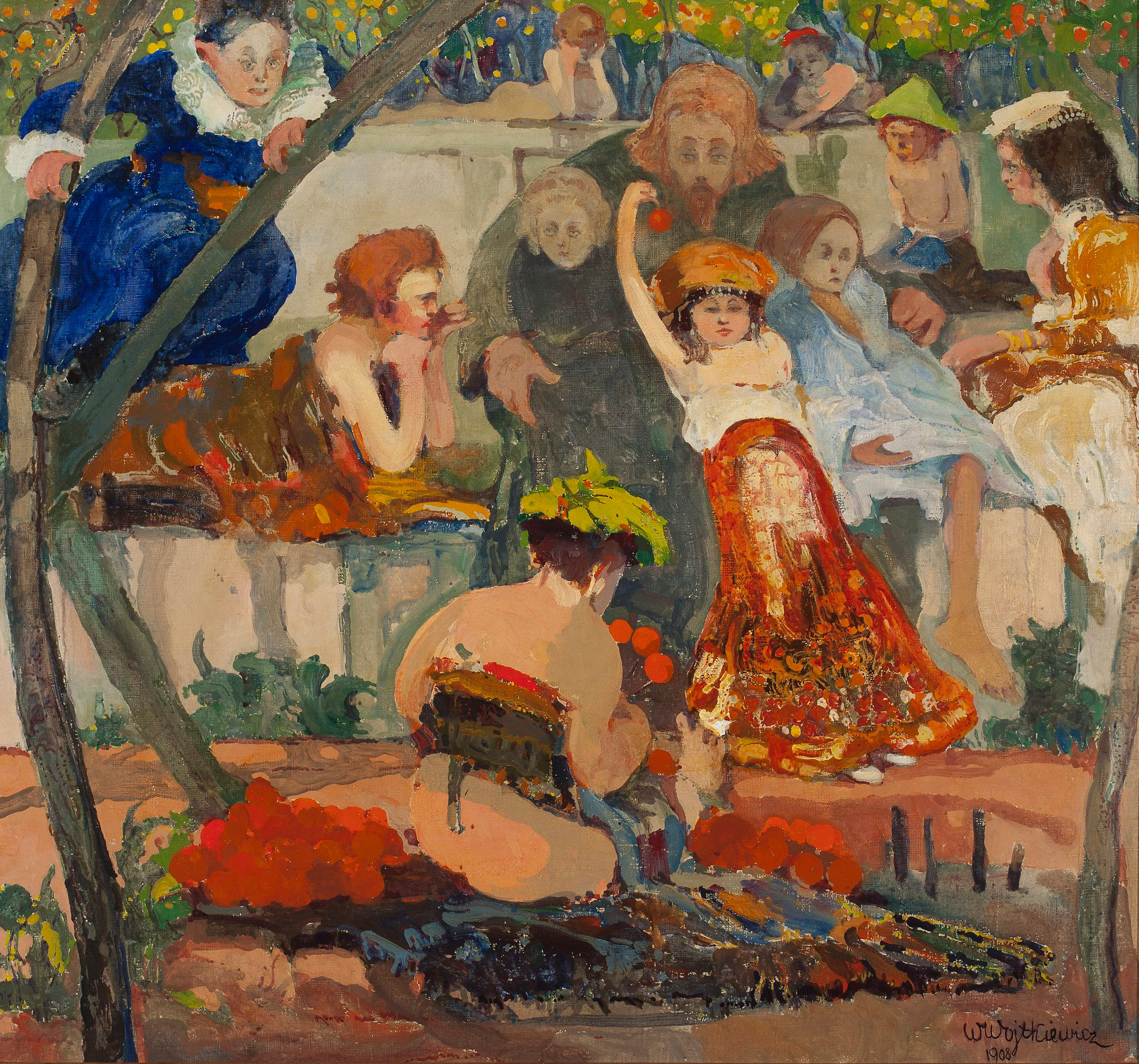 """Witold Wojtkiewcz (1879-1909) """"Chrystus i dzieci"""", 1908 rok, źródło: Muzeum Narodowe w Warszawie"""