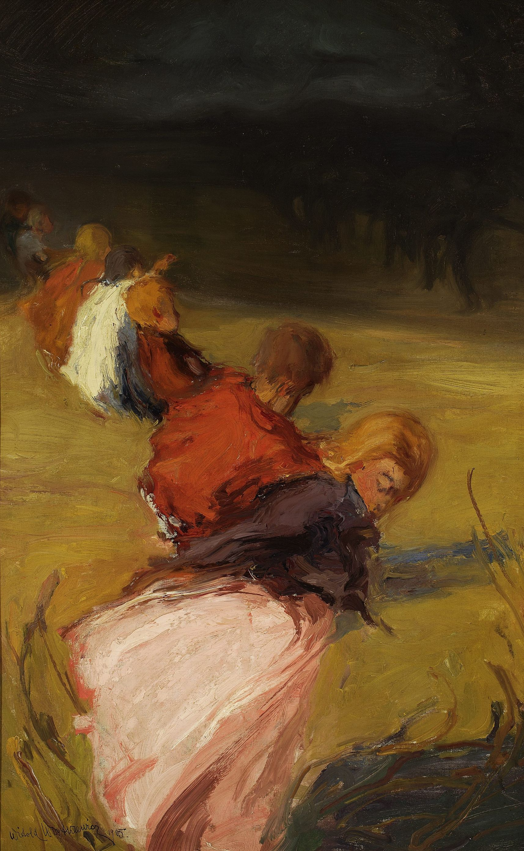 """Witold Wojtkiewcz (1879-1909) """"Dzieci zaskoczone burzą"""", 1905 rok, źródło: Muzeum Narodowe w Warszawie"""