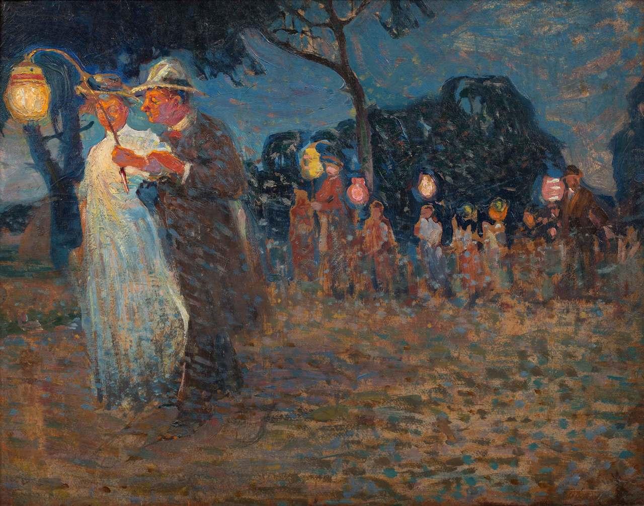 """Witold Wojtkiewcz (1879-1909) """"Garden party"""", 1907 rok, źródło: Polswiss Art"""