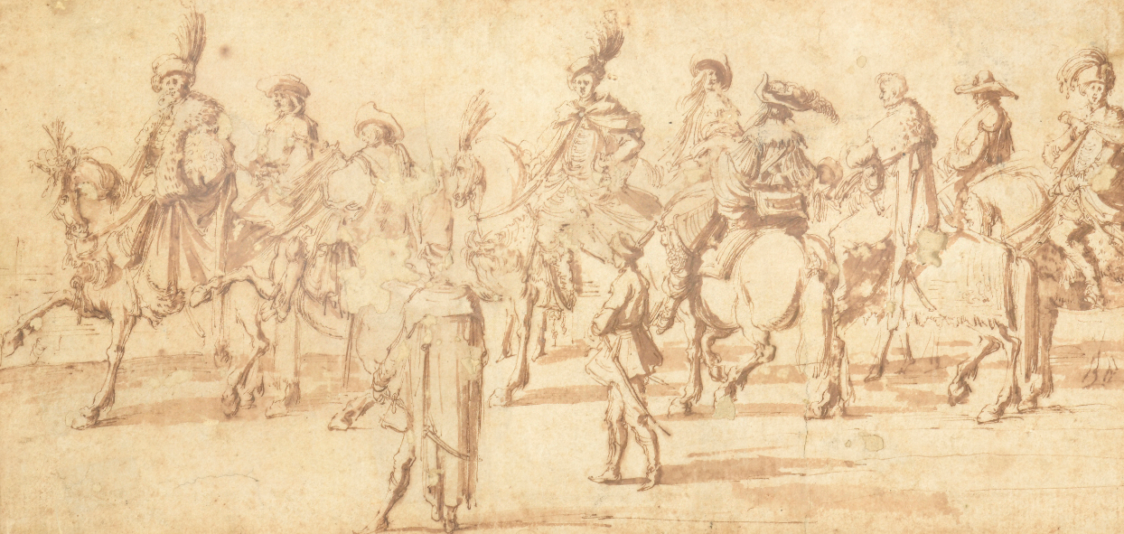"""Stefano della Bella (1610-1664) """"Szkic do wjazdu Jerzego Ossolińskiego do Rzymu w roku 1633"""", źródło: Crait + Muller"""