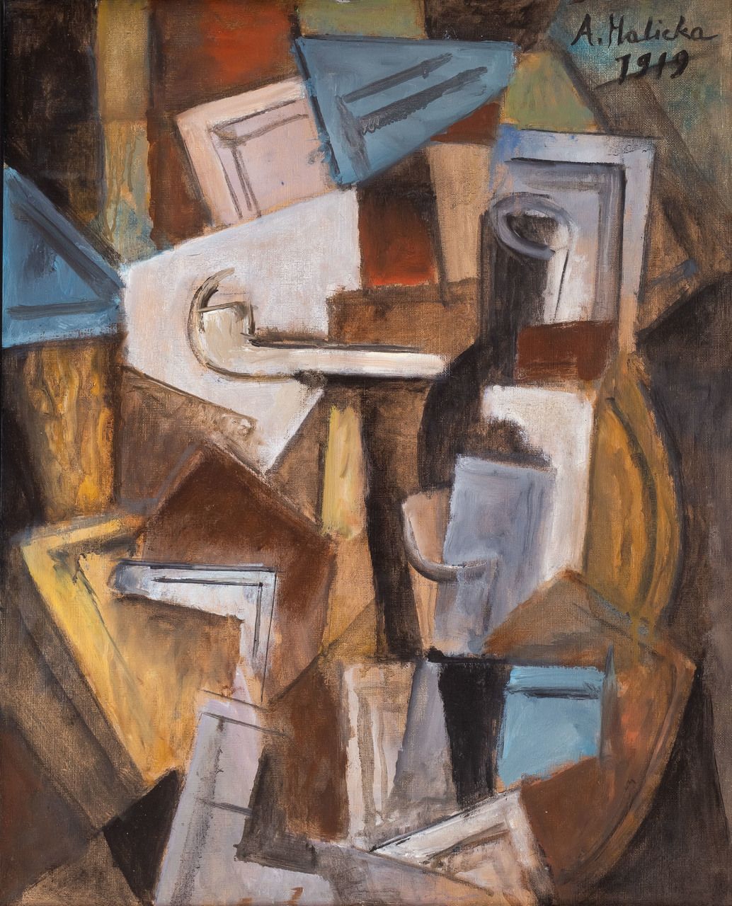 """Alicja Halicka (1889-1974) """"Kompozycja kubistyczna z fajką"""", 1919 rok, źródło: Sopocki Dom Aukcyjny"""