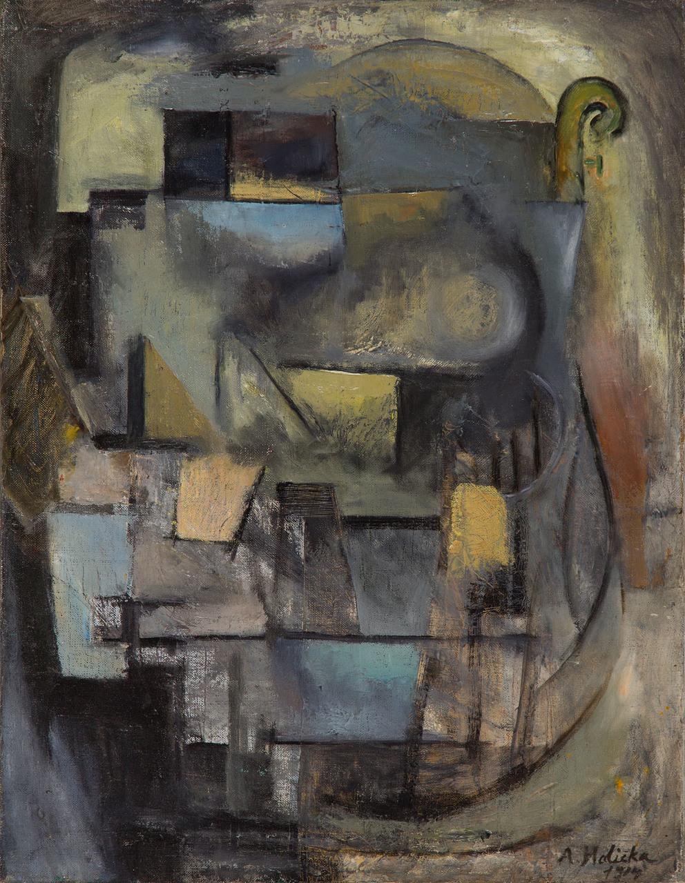 """Alicja Halicka (1889-1974) """"Kompozycja kubistyczna z gitarą"""", 1914 rok, źródło: Desa Unicum"""