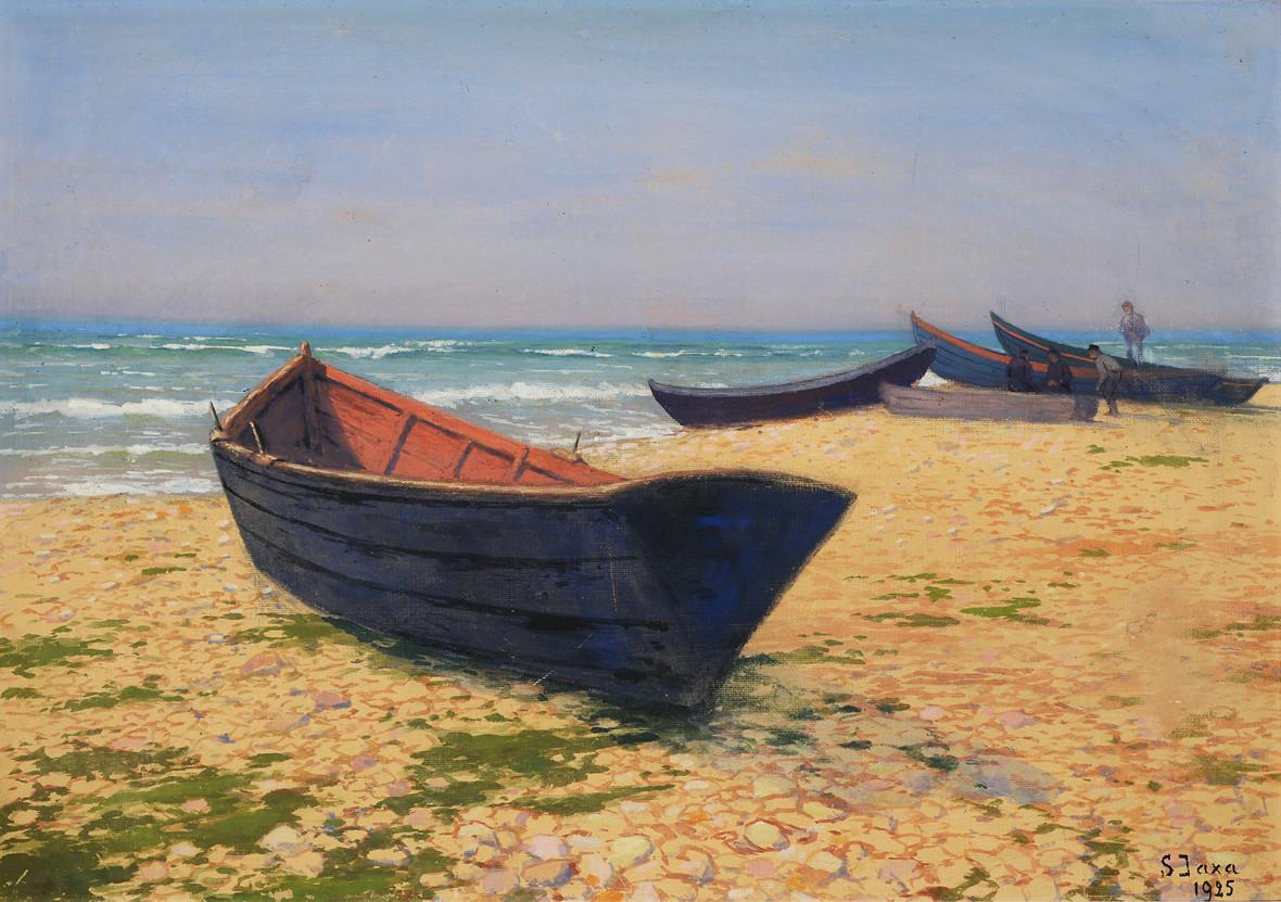 """Soter Jaxa Małachowski (1867-1952) """"Rybackie łodzie na bałtyckiej plaży"""", źródło: HannoVerum"""