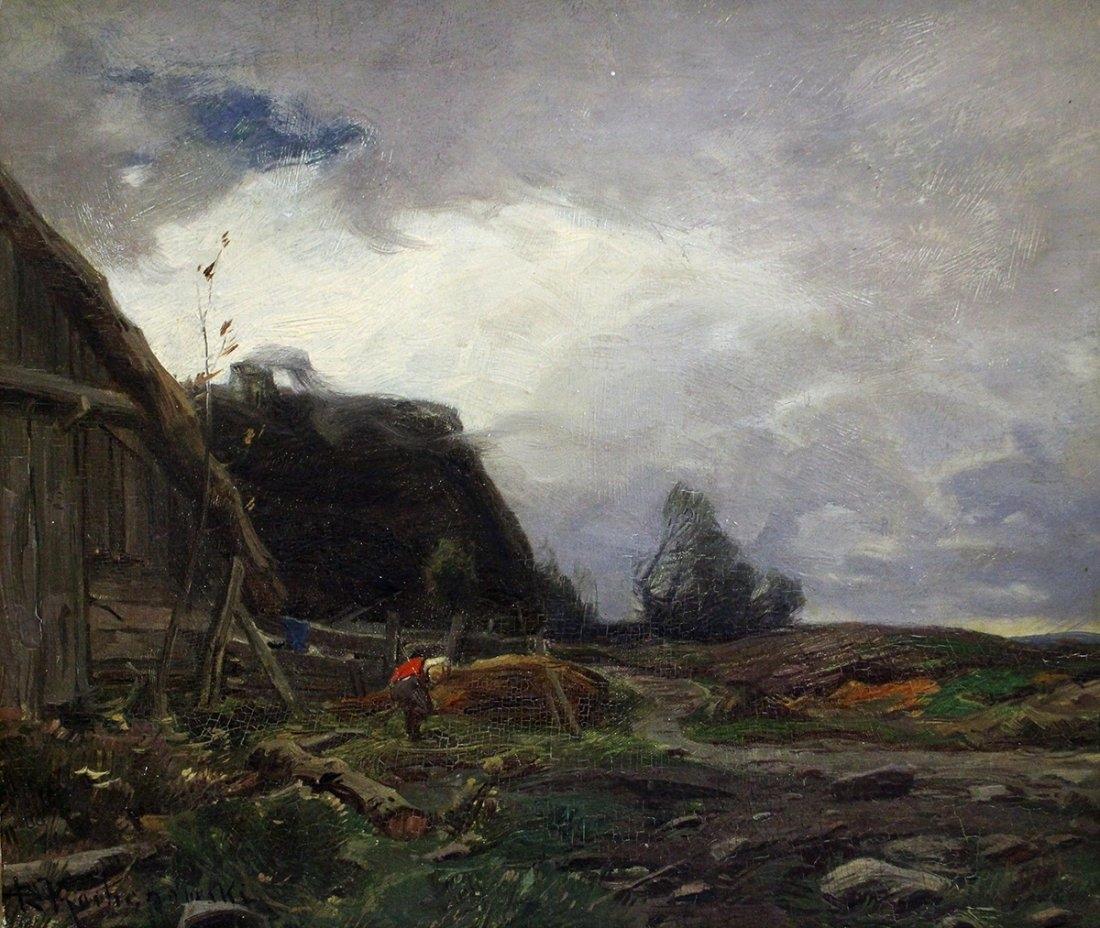 """Roman Kochanowski (1857-1945) """"Wiejska zagroda"""", źródło: Vero Beach Auction"""