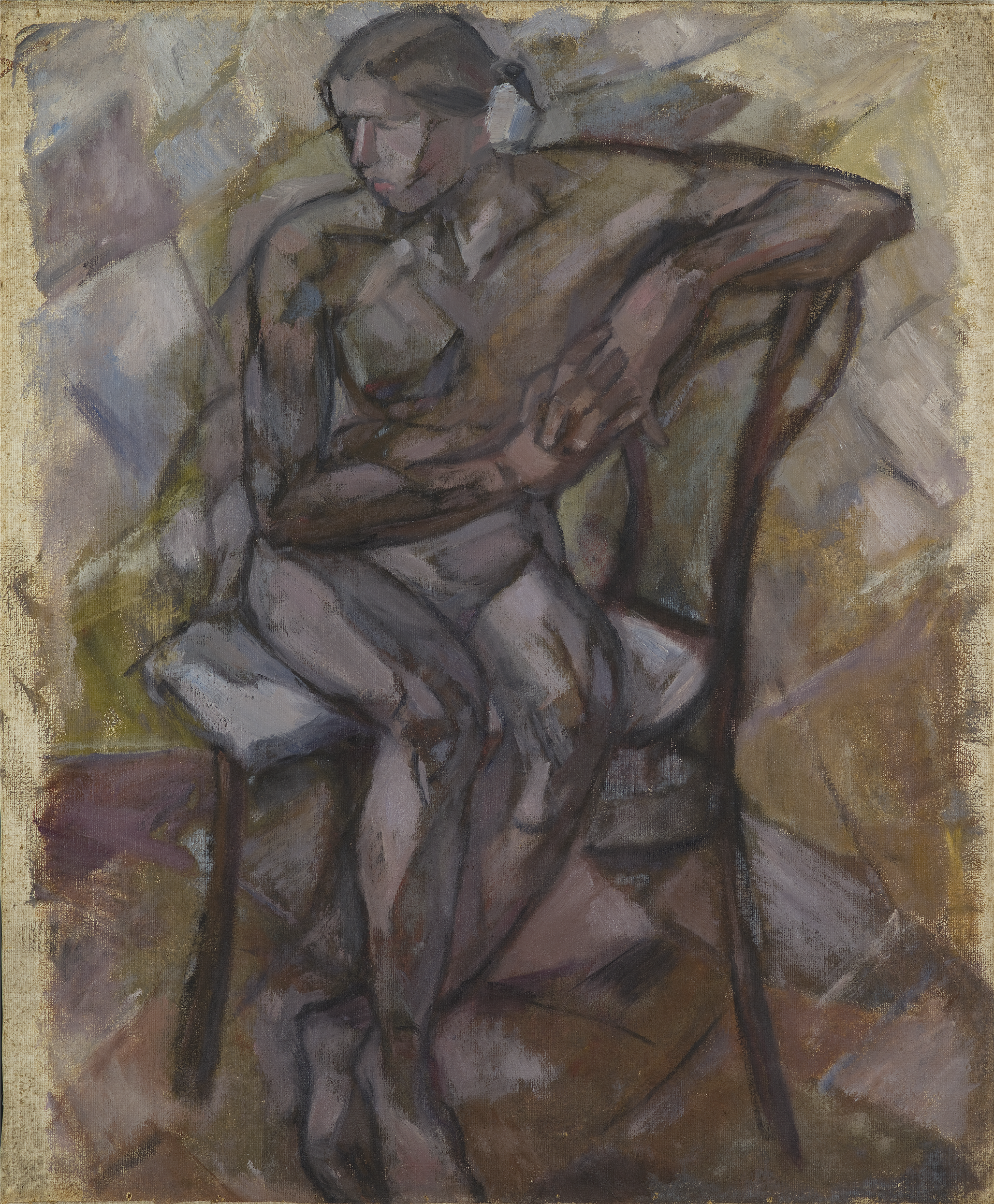 """Tadeusz Makowski (1882-1932) """"Akt siedzący"""", ok. 1913 roku, źródło: Muzeum Sztuki w Łodzi"""