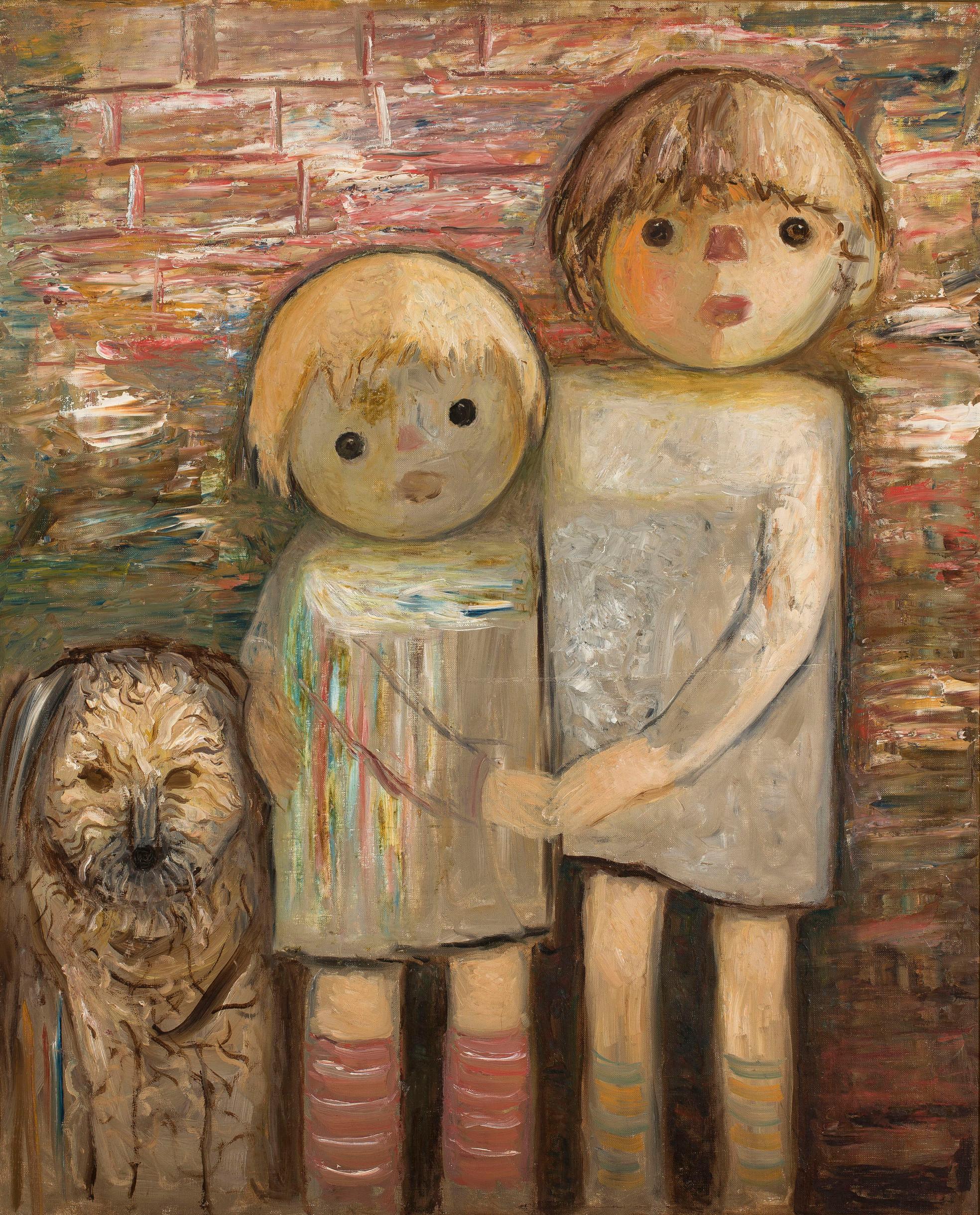 """Tadeusz Makowski (1882-1932) """"Dwoje dzieci  z psem"""", ok. 1932 roku, źródło: Muzeum Narodowe w Warszawie"""