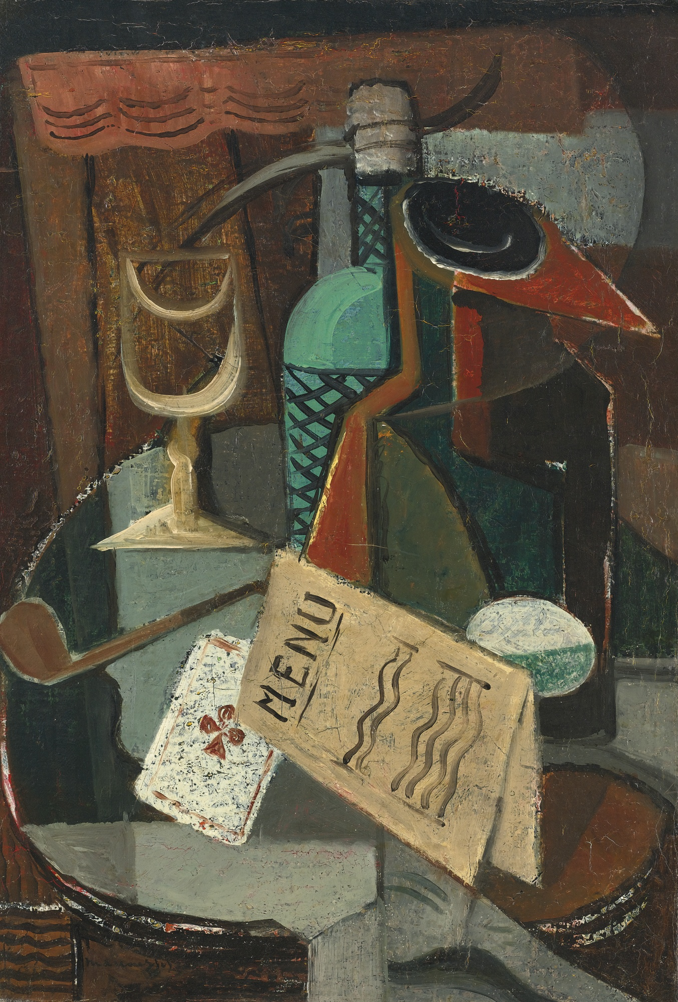 """Louis Marcoussis (1871-1941) """"Martwa natura z menu i syfonem"""", lata 20. XX wieku, źródło: Sotheby's"""