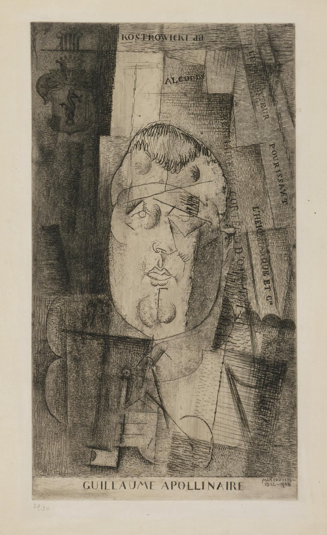 "Louis Marcoussis (1871-1941) ""Portret Appolinaire'a"", lata 1912-1920, źródło: Museum of Modern Art w Nowym Jorku"