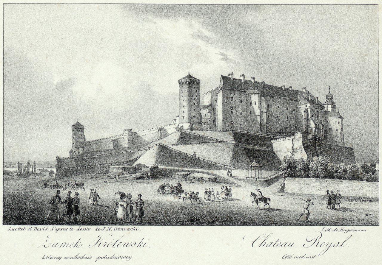 """""""Zamek królewski"""", 1836 rok, litografia Jana Nepomucena Głowackiego (1802-1847) z """"24 widoków miasta Krakowa i jego okolic"""""""