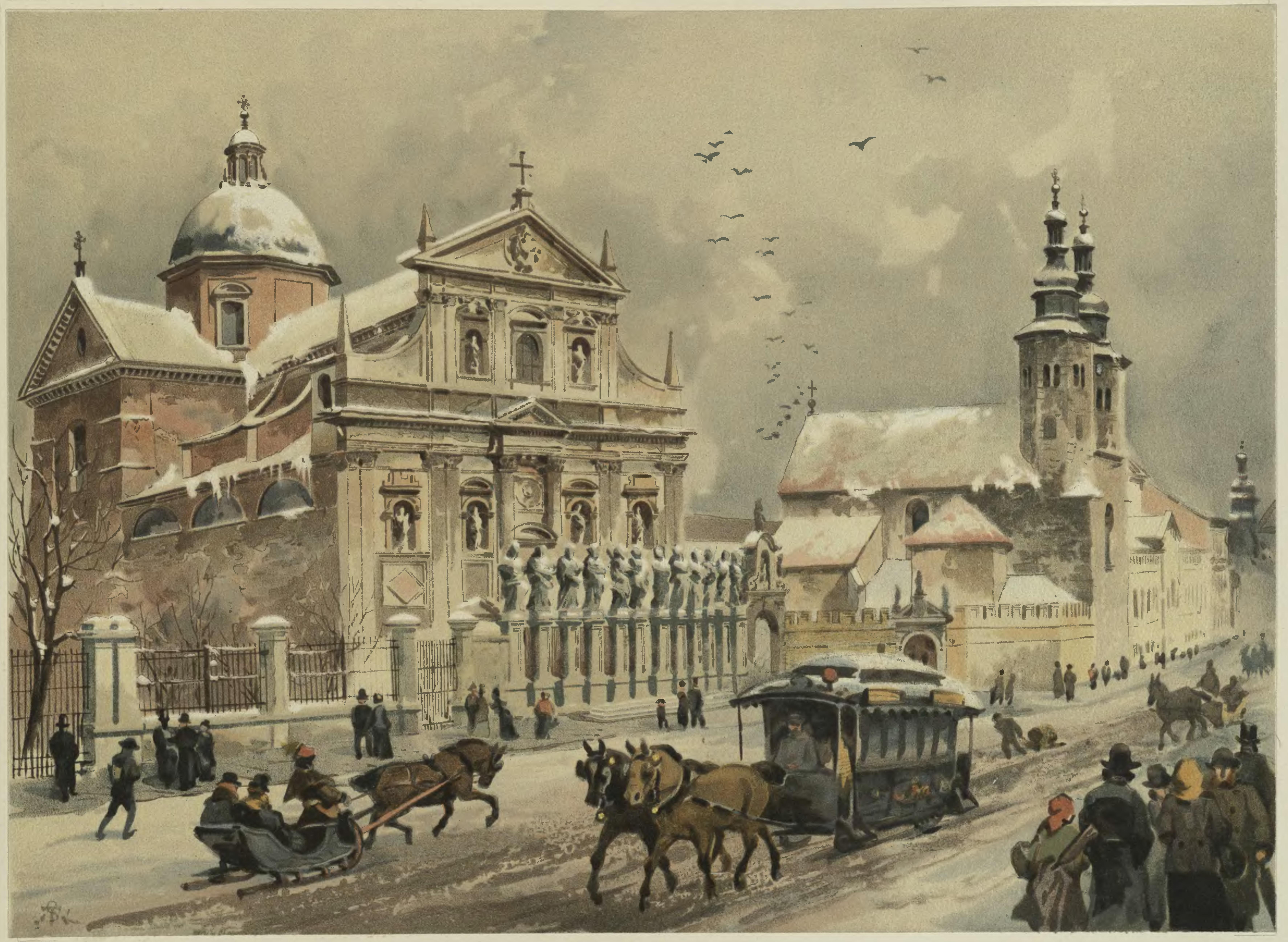 """Juliusz Kossak (1824-1899) i Stanisław Tondos (1854-1917) """"Kościół śś. Piotra w Pawła"""", chromolitografia z 1886 roku"""
