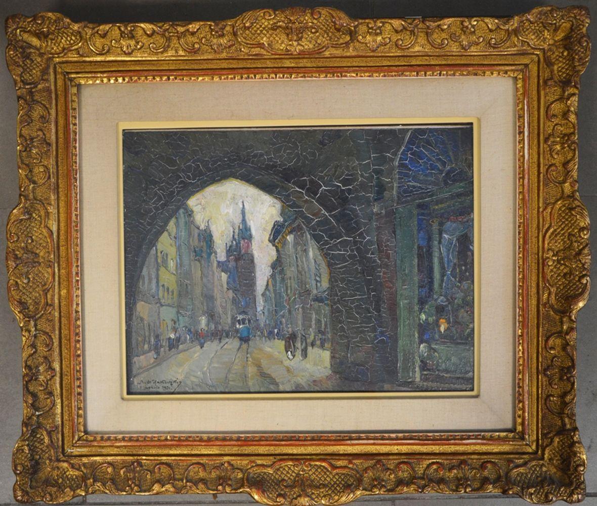 """Mieczysław Rakowski (1882-1947) """"Widok na ulicę Floriańską w Krakowie"""", źródło: Sophie Himbaut Auctions"""