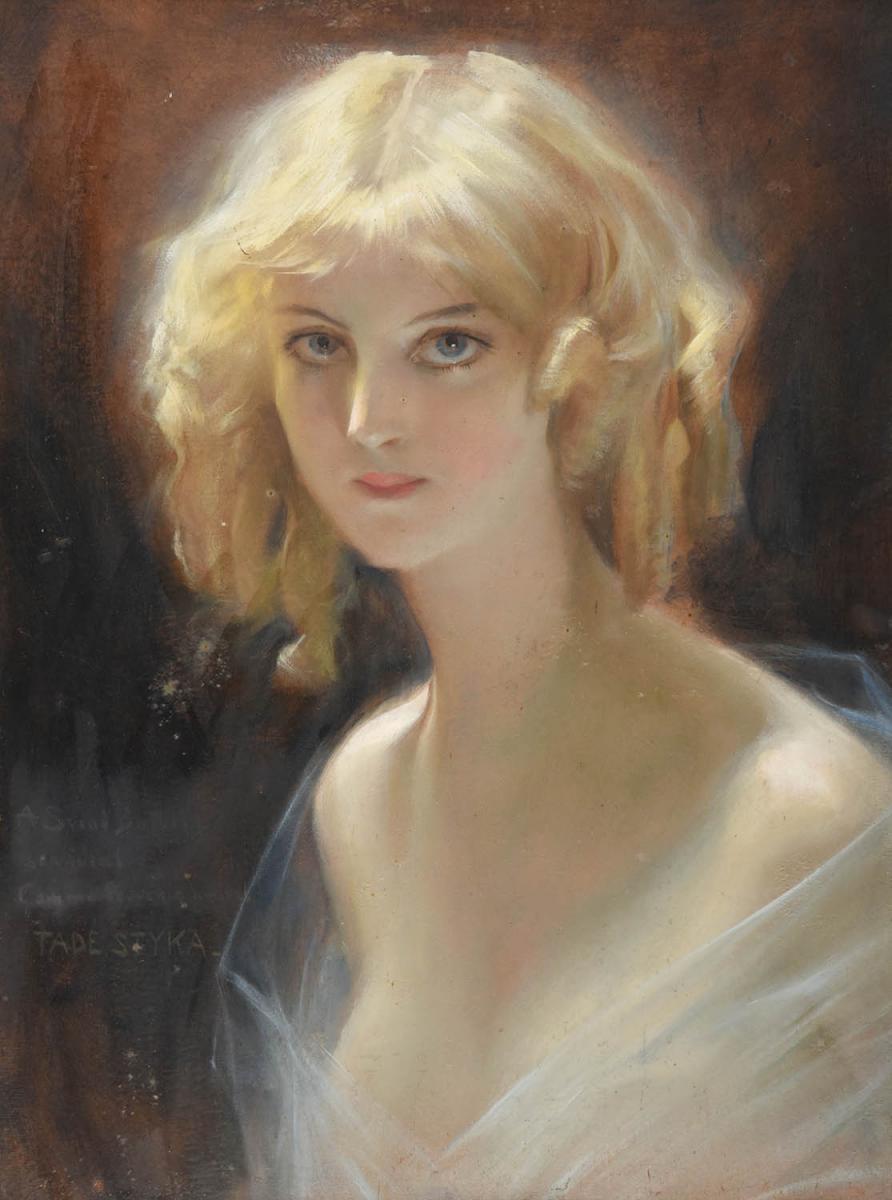 """Tadeusz Styka (1889-1954) """"Blondwłosa piękność"""", źródło: Tennants Auctioneers"""