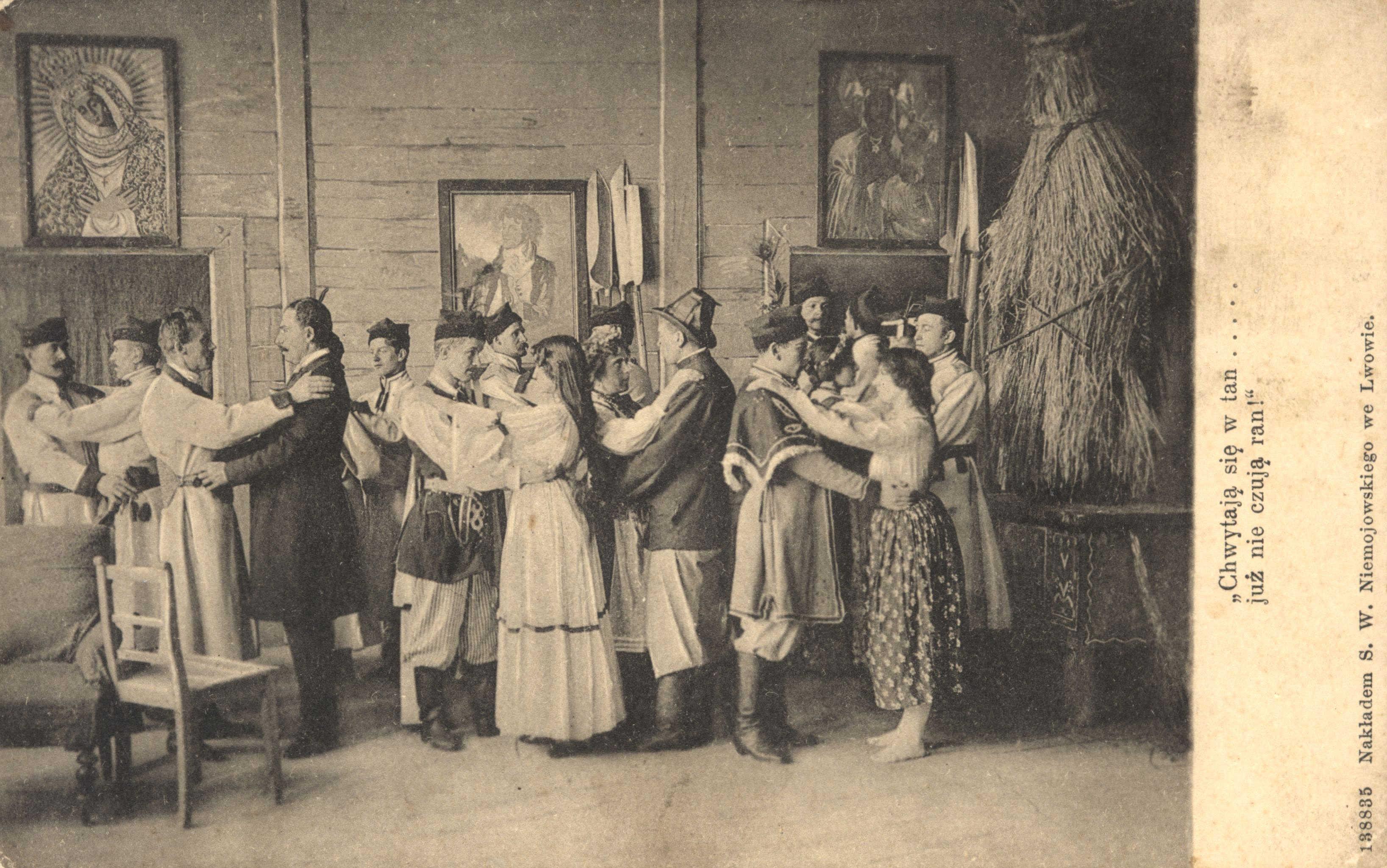 """Pocztówka, """"Wesele"""" wg Stanisława Wyspiańskiego, ok. 1915 roku, źródło: Lubelska Biblioteka Cyfrowa"""
