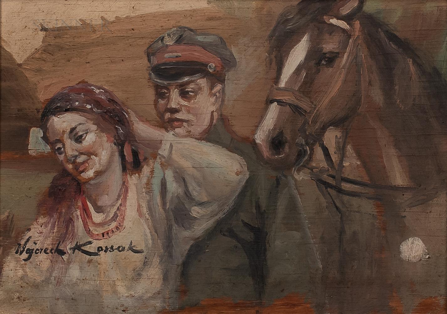 """Wojciech Kossak (1856-1942) """"Ułan i dziewczyna"""", źródło: Skinner Inc."""