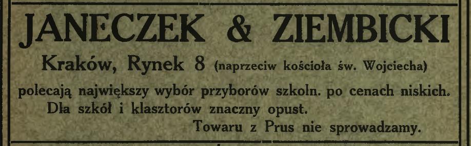 """Reklama prasowa spółki Janeczek&Ziembicki z 1908 roku, źródło: """"Łan młodzieży"""" 1908, nr 3"""