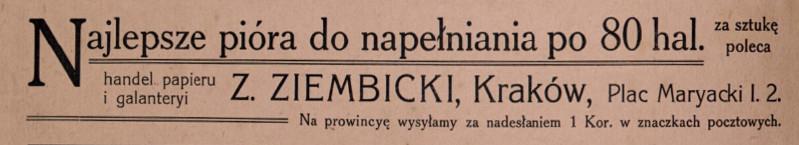 """Reklama samodzielnej już firmy Ziembickiego z 1910 roku, źródło: """"W dal. Wiązanka prac literackich uczniów Uniwersytetu Jagiellońskiego"""", 1910 (10 X)"""