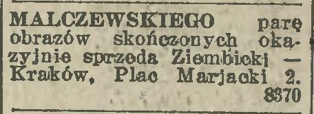"""Ogłoszenie o sprzedaży prac Jacka Malczewskiego, źródło: """"Ilustrowany Kuryer Codzienny"""" 1925, nr 31 (17-XI)"""