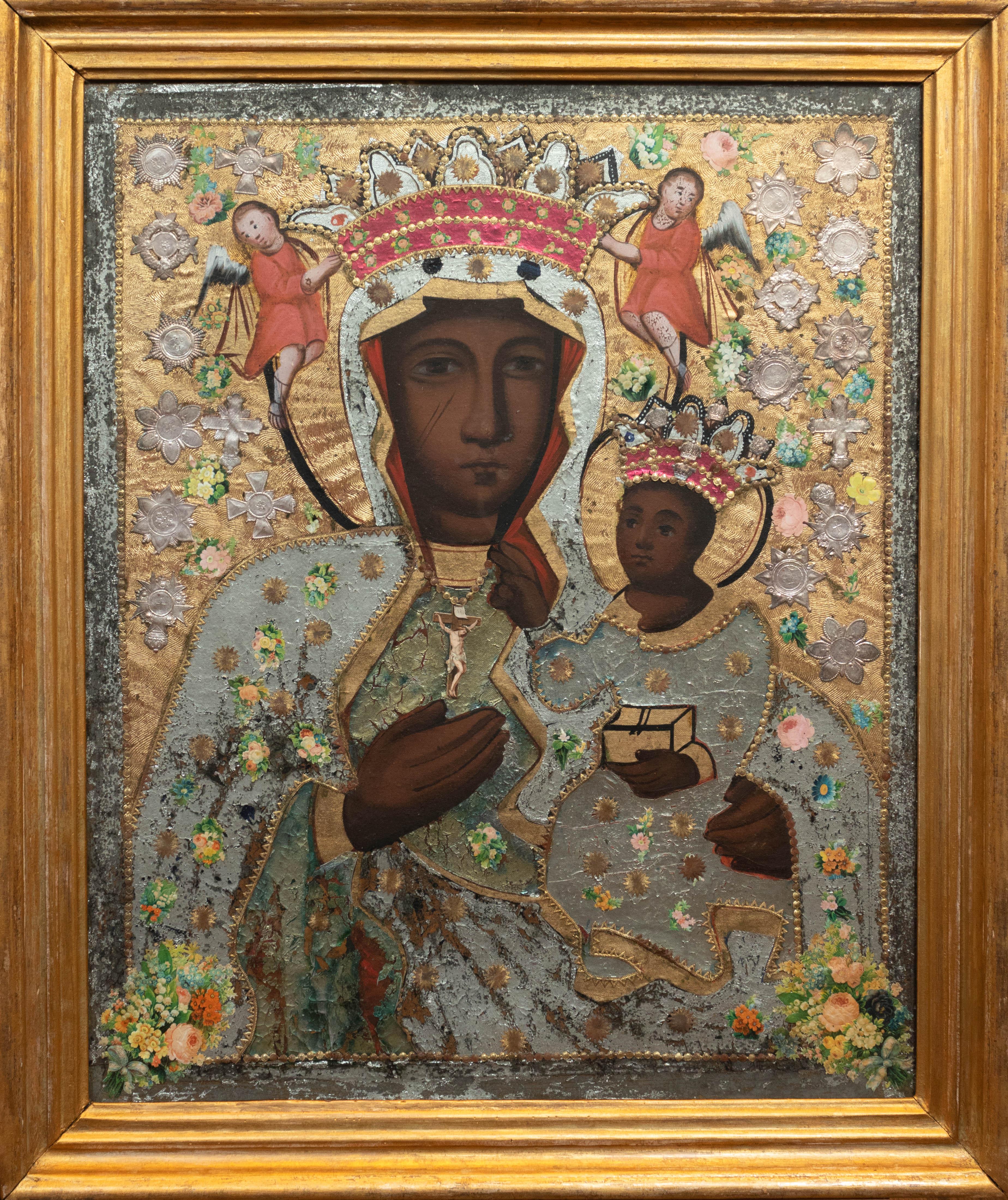 Matka Boska Częstochowska, koniec XIX wieku, zdobienia bamberskie, źródło: archiwum autora