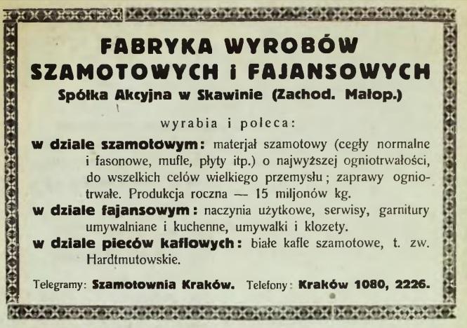 Reklama prasowa fabryki w Skawinie, lata 20. XX wieku