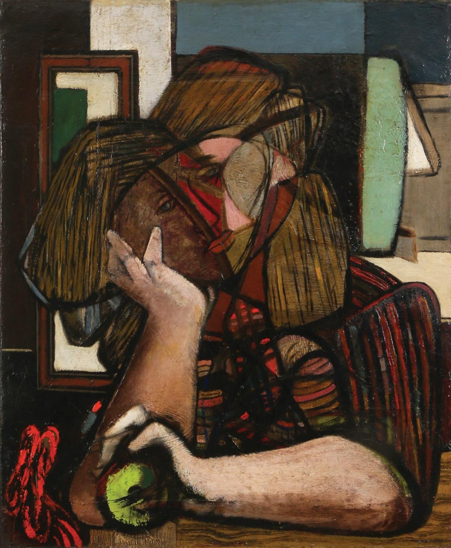 """Jankiel Adler (1895-1949) """"Kobieta z jabłkiem w dłoni"""", źródło: Tiroche Auction House"""